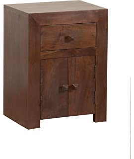 Homescapes groove dark solid mango wood lamp table with drawers and homescapes dakota bed side cabinet dark 100 solid mango hard wood aloadofball Choice Image