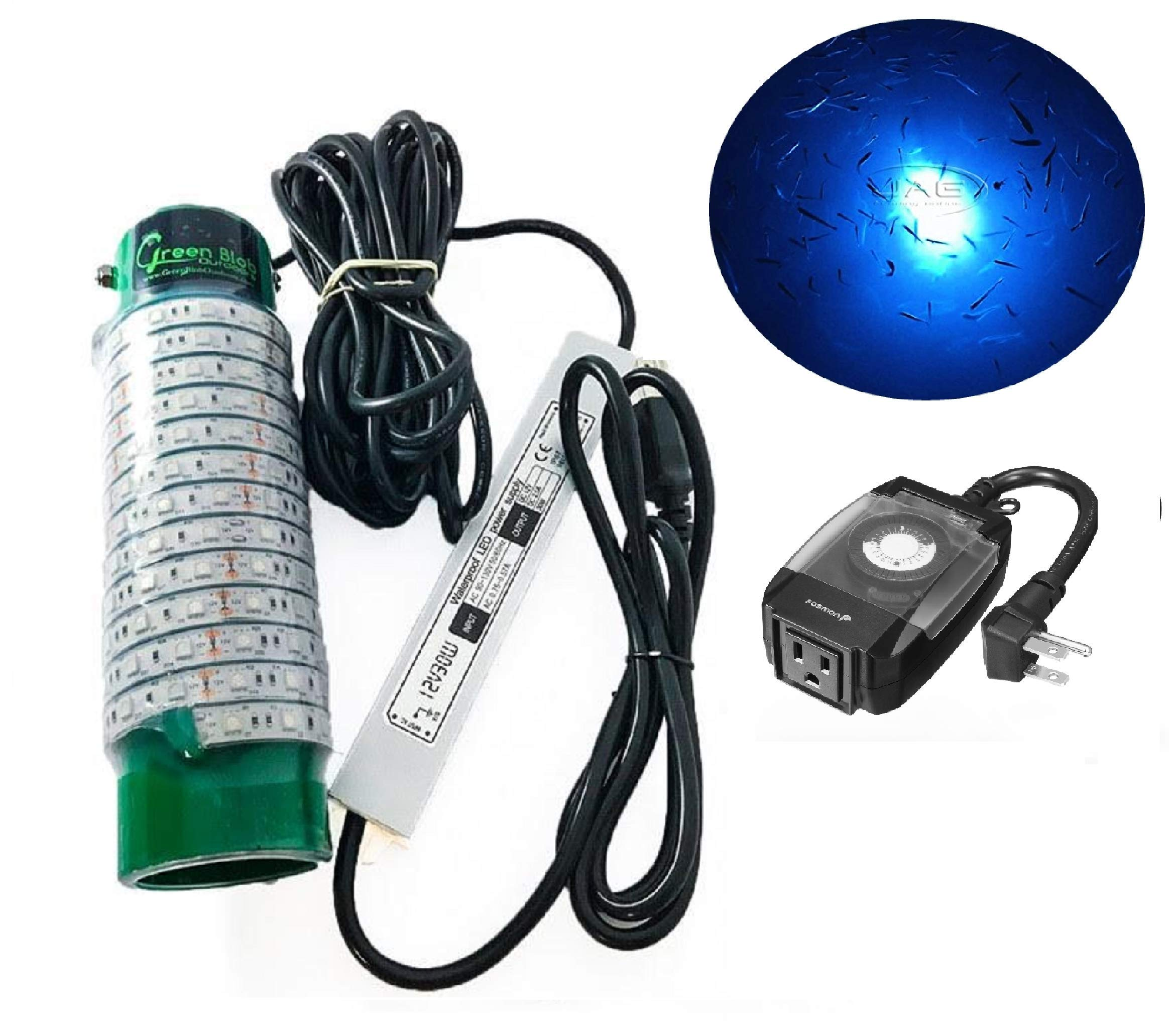 (Green, Blue, or White) Blob Underwater LED Night Fishing Light DOCK-7500 110volt AC (with Timer) 30ft Cord Fish Finding System, Bait rig, Fish Attractor, Ponds, Snook (Blue with Timer)