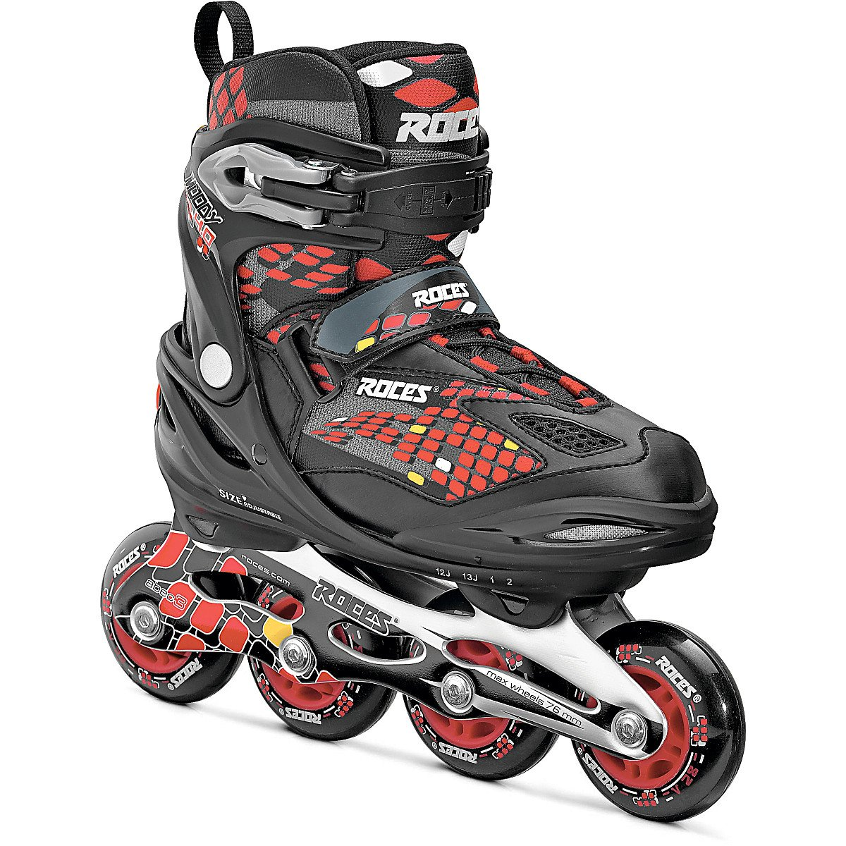 Roces 400792 Men's Model Moody 4.0 Adjustable Inline Skate, US 13jr-3, Black/Astro Blue/Red