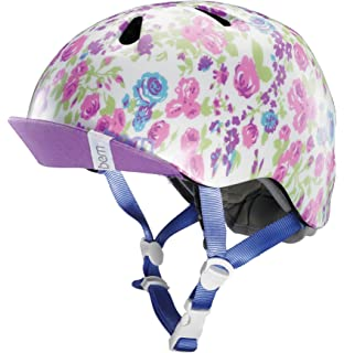 Bern Nina Helmet - Girls Satin White Floral, ...