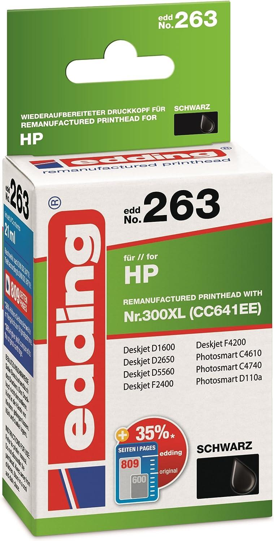 Edding 18-263 - Cartucho de tinta equivalente a HP n.º 300XL CC641EE, color negro: Amazon.es: Oficina y papelería