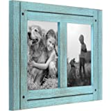 Americanflat Collage Picture Frame in Turquoise Blue with Three Displays Textured Wood and Polished Glass for Wall and…