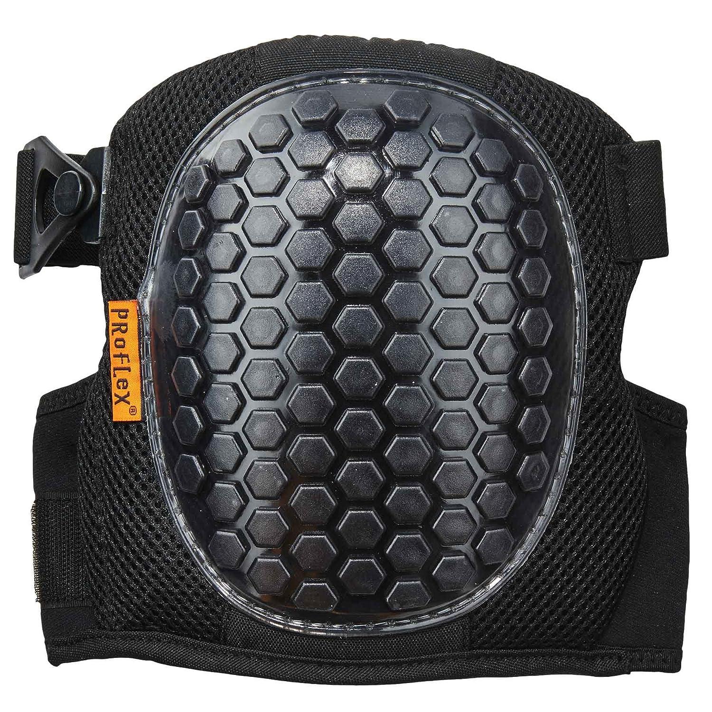 Ergodyne ProFlex 367 Professional Knee Pads Protective  Round Cap Lightweight Gel Padded Technology Adjustable Straps Black