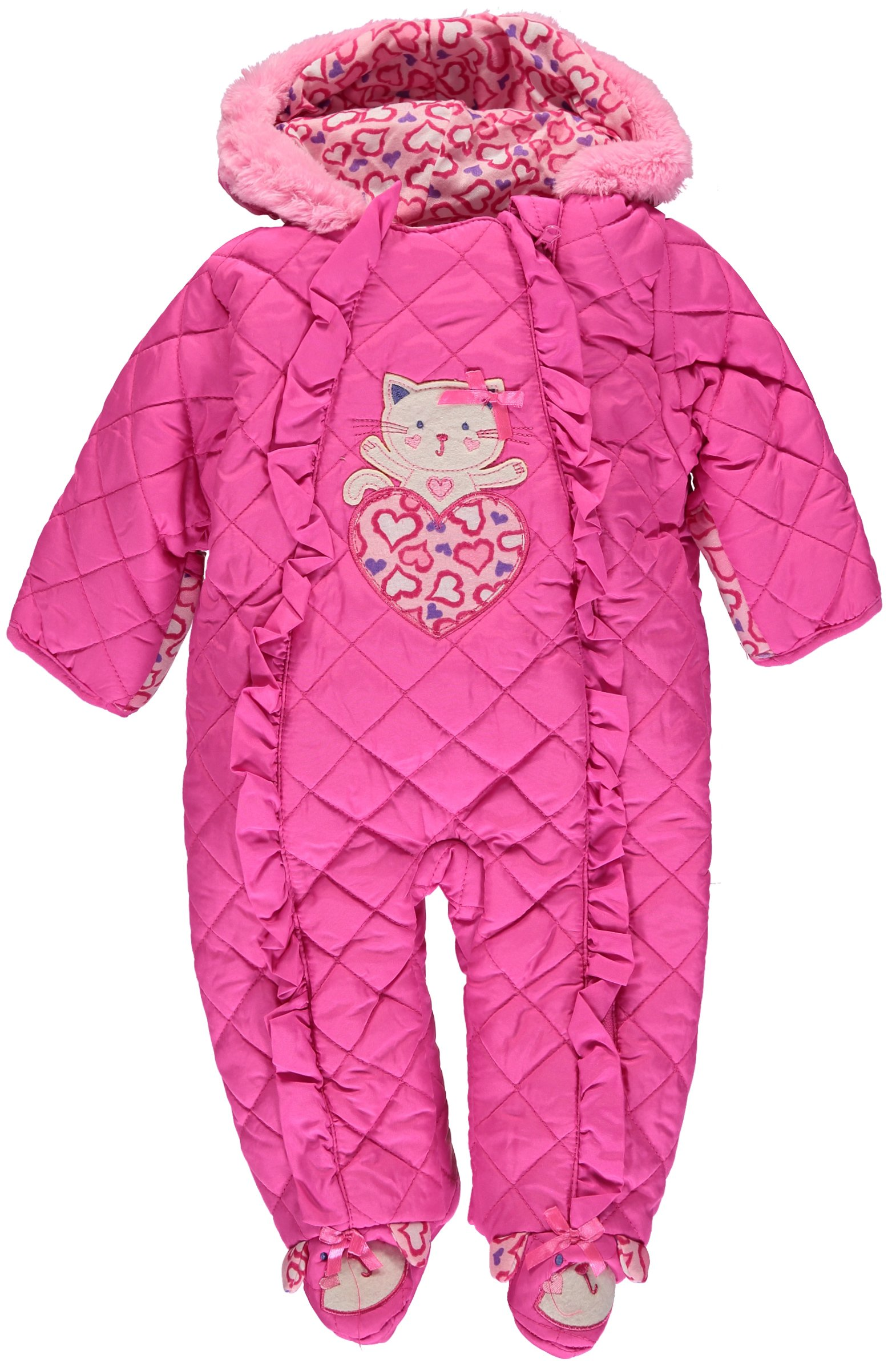 Duck Goose Baby Girls Cute Little Kitty Quilted Footed Ear Snow Pram Suit, Pink, 3-6 Months