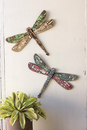 KALALOU Set of Wooden Dragonfly Wall Art