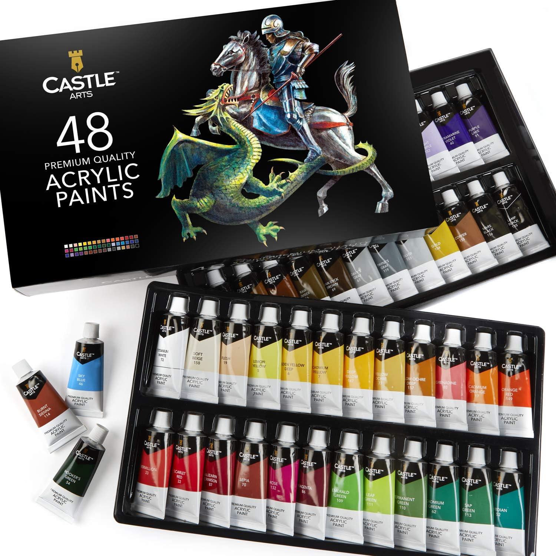 Castle Art Supplies estuche de pinturas acrílicas, 48 colores vibrantes en tubos más grandes. El juego de acrílicos de alta calidad para artistas, principiantes o niños