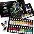 Castle Art Supplies Acrylic Paint Set - 48 Vibrant Colors with LARGE 22ml Tubes for Extra Value. A Stunning Paint Set full of Quality Paint that You'll Love to Work With!