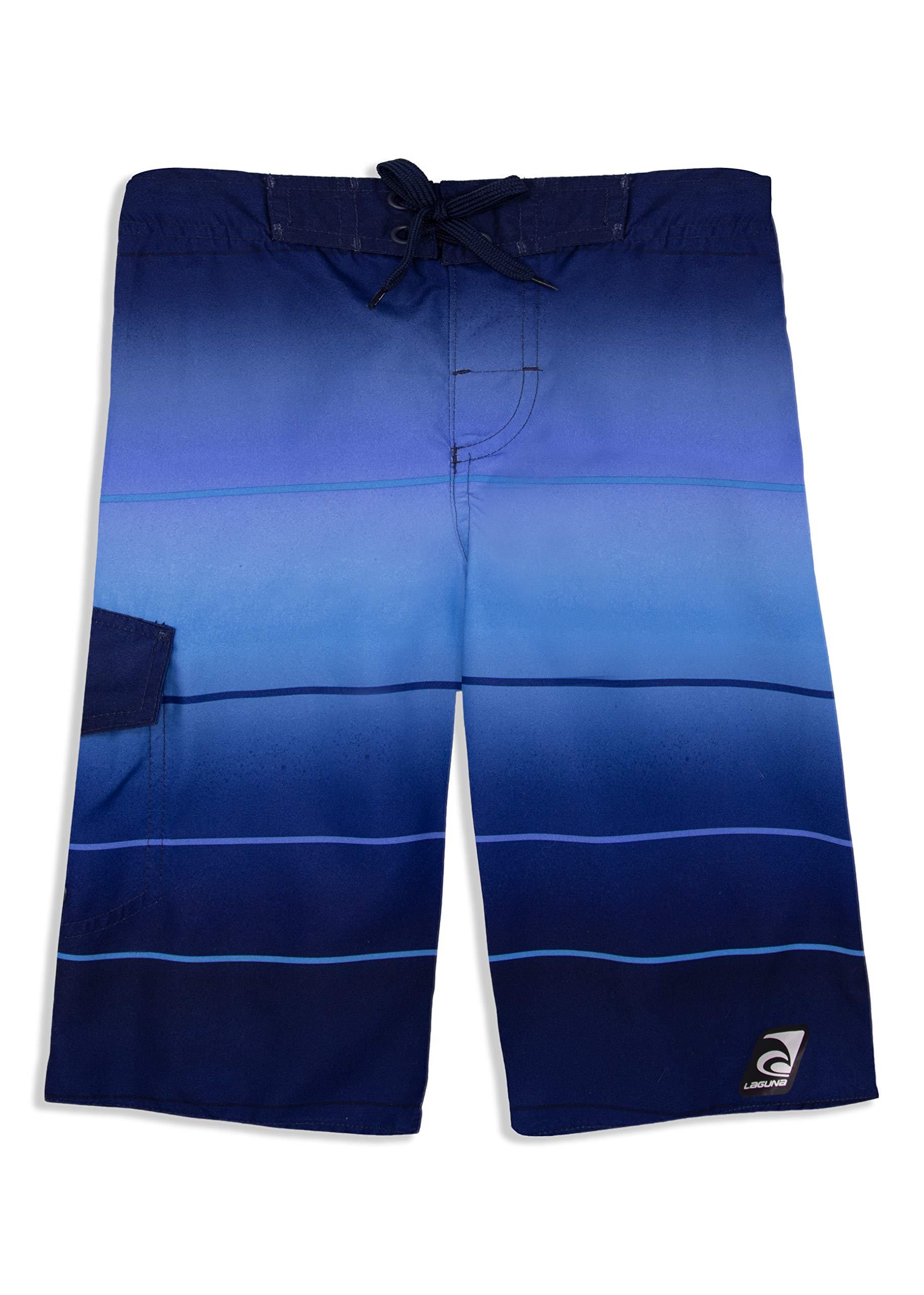 LAGUNA Boys Epic Stripe Multicolor Boardshorts Swim Trunks, UPF 50+, Blue, 14/16