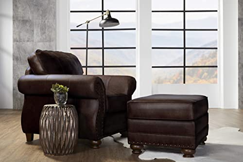 Roundhill Furniture Leinster Faux Leather Upholstered Nailhead Chair and Ottoman