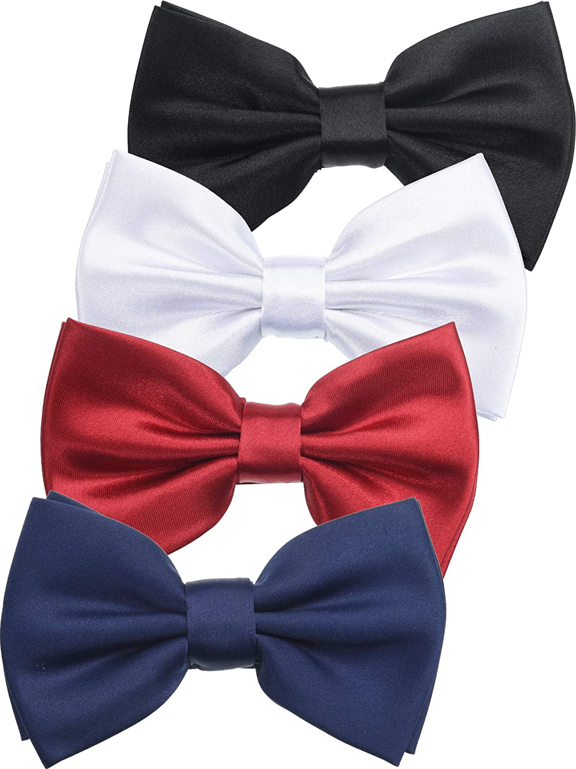 4 Pieces Pre-tied Bow Tie Adjustable Length Bowtie Solid Color Formal Bow Knot for Men