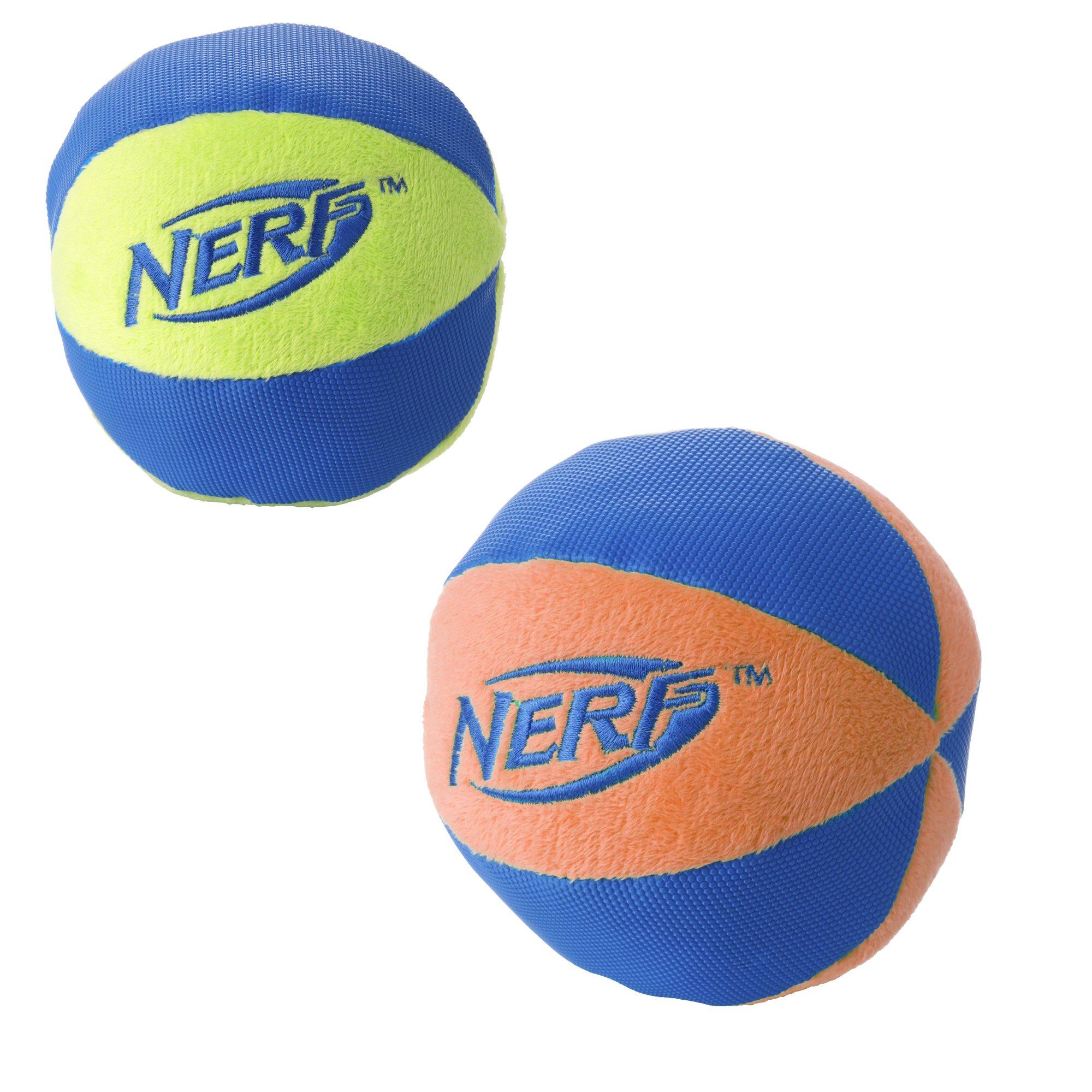 Nerf Dog 2-Pack UltraPlush Trackshot Ball Dog Toy, Orange/Blue & Green/Blue, Large