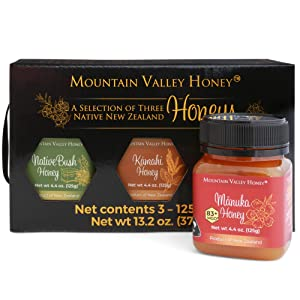Gourmet Honey Gift Box (Set of 3) with Premium Manuka Honey MGO 83, Raw Honey Collection, 100% Pure Natural Honey Gift Sets, 3 x 4.4oz Honey Pots, Perfect Family Food Gift