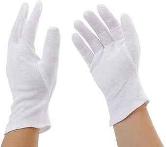 Incutex 4 pares de guantes de tela de algodón, blancos, talla: M ...