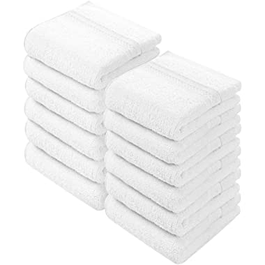 Utopia Towels Premium 700 GSM Cotton Washcloths - 12 Pack, White, 12 x 12 Inches Extra Soft Wash Cloths
