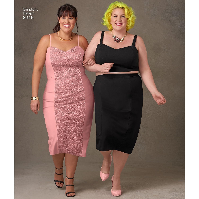 18W-20W-22W-24W-26W Simplicity Creative Patterns US8345F5 Plus Size Dress F5 Top /& Skirt