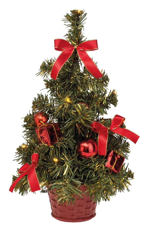 Idena 8582154 Weihnachtsbaum,mit 10 LED und roter Deko ...