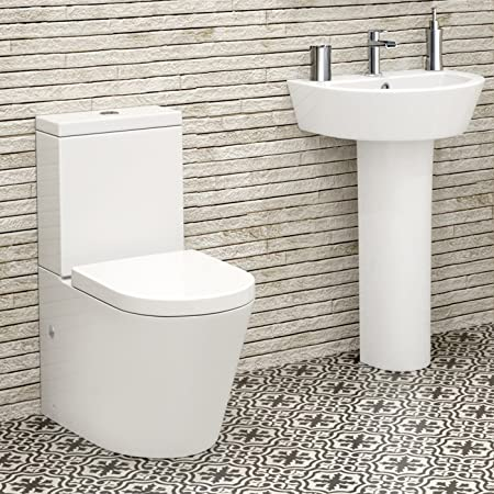 Modern White Toilet Cistern Set Pedestal Basin Sink Bathroom Suite
