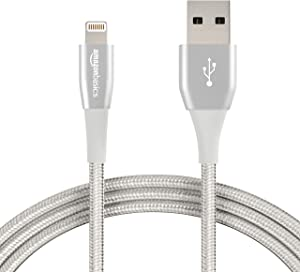 AmazonBasics Double Nylon Braided USB A Cable with Apple Lightning Connector, Premium Collection - 6-Foot, 12-Pack - Silver