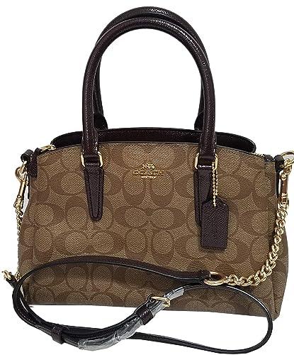 4ccbdbad1e3c Coach Signature Print Trim Mini Sage Carryall Bag Crossbody Sling Purse  Nwt  Handbags  Amazon.com