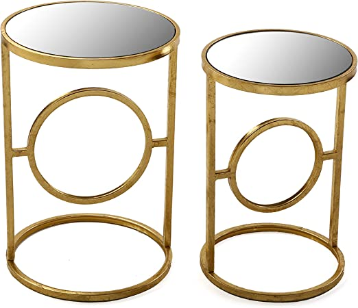 Versa 10850158 Set de 2 mesas auxiliares de café Doradas Camille ...