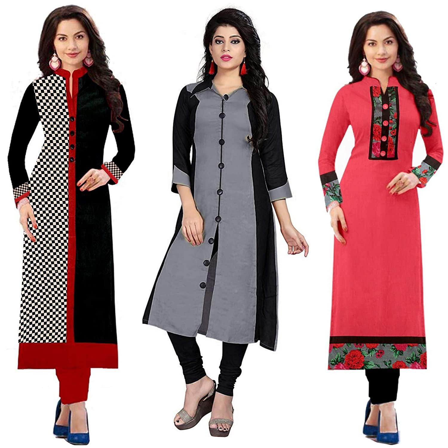LOOT FAST RAMDEV Women's Cotton Semi- Stitched Kurti (Multicolour,Free Size) Pack of 3 at only 799 MRP 3289