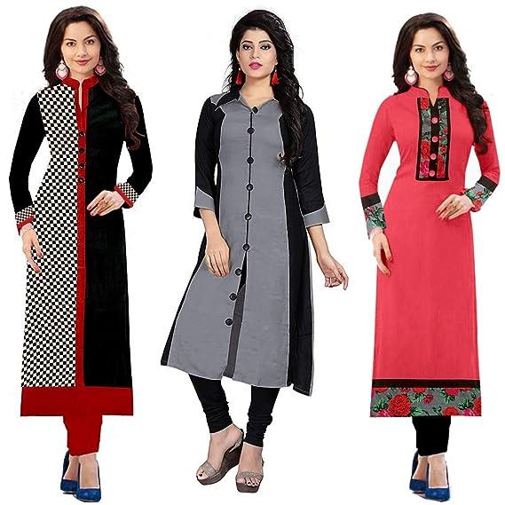 090e41b3d1c1 RAMDEV Women's Straight Kurta (Pack of 3) (RMD  checks_02_grey_Multi-Coloured_FS): Amazon.in: Clothing & Accessories