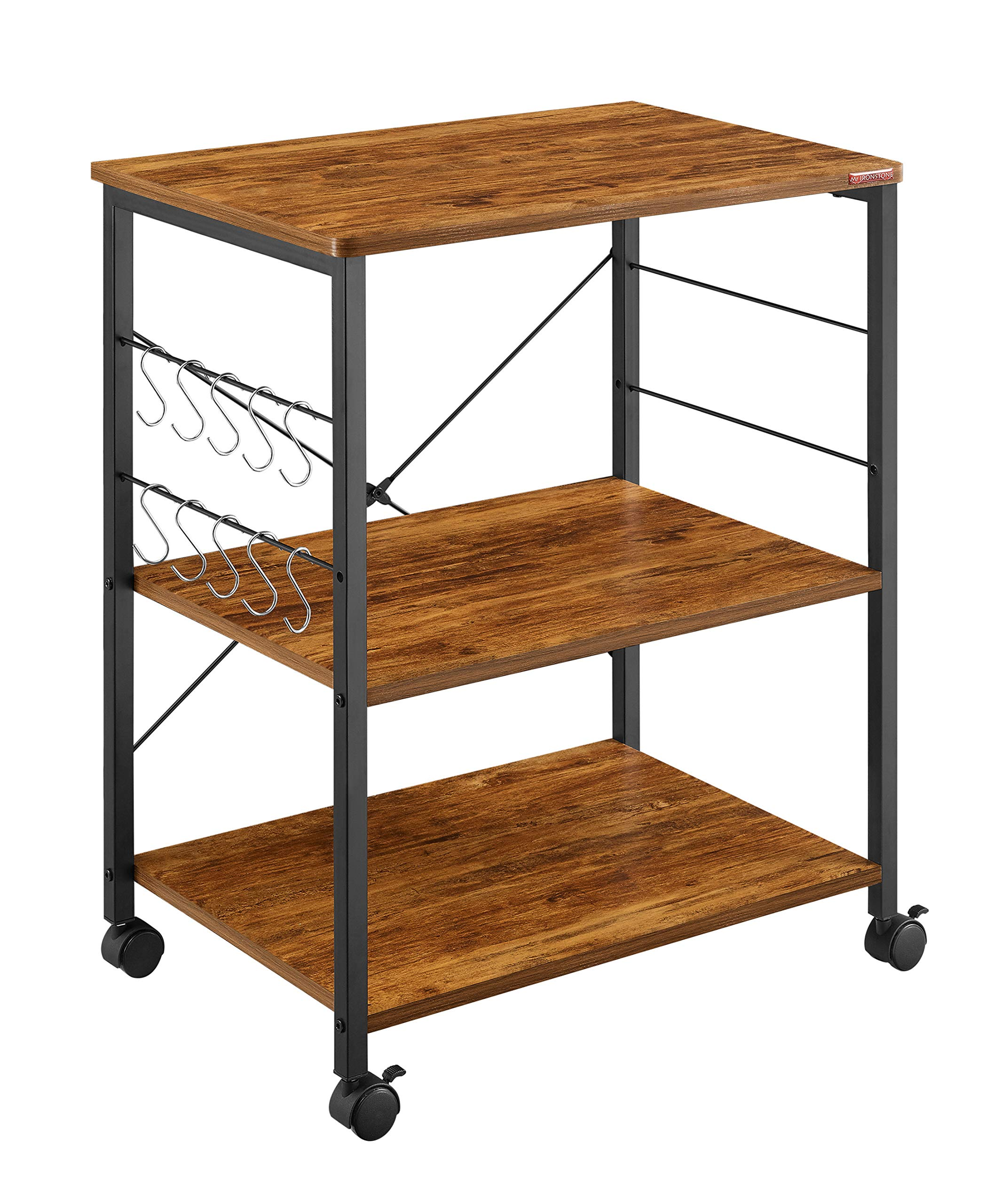Mr IRONSTONE Kitchen Microwave Cart 3-Tier Kitchen Utility Cart Vintage Rolling Bakers Rack with 10 Hooks for Living Room Decoration by Mr IRONSTONE