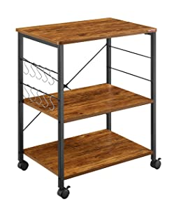 Mr IRONSTONE Vintage Kitchen Cart 3-Tier Kitchen Baker's Rack Utility Microwave Oven Stand Storage Rolling Workstation with 10 Hooks for Living Room