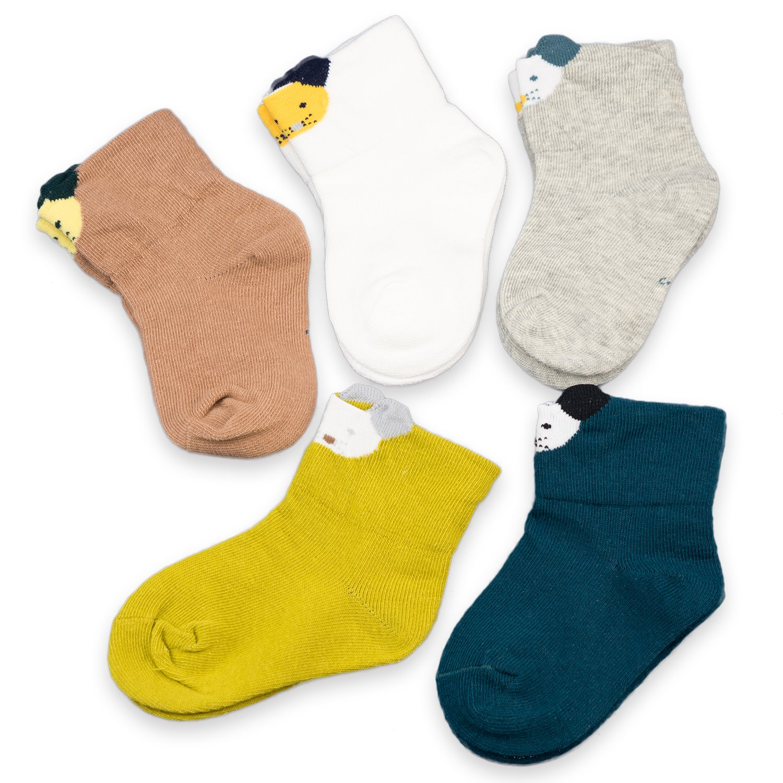 CoCoCute Baby Socks 5 Pairs Toddler Socks Infant Socks Cartoon Pattern Girls Boys Cotton Socks (S(1-3Y), Dog-5 pairs)