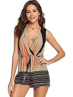 5dd0143f7ed SweatyRocks Women s Sexy V Neck Boho Print Sleeveless Short Romper Jumpsuit