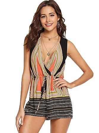 bfd774cda1f Amazon.com  SweatyRocks Women s Sexy V Neck Boho Print Sleeveless Short  Romper Jumpsuit  Clothing