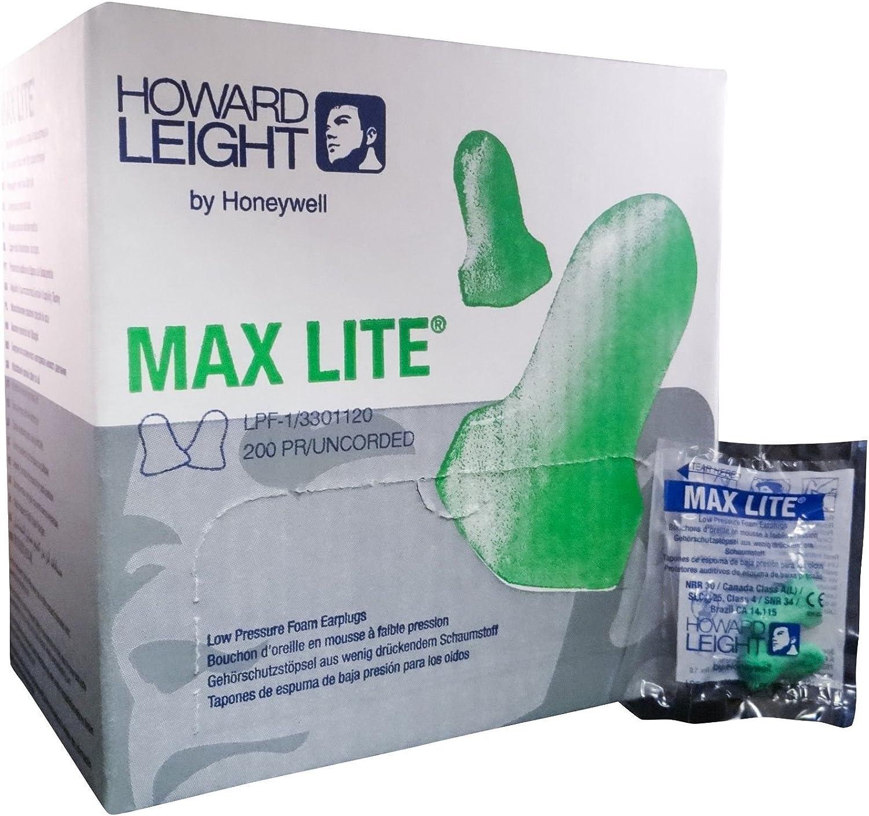 200 Pairs//Box Howard Leight Max Lite Low Pressure Foam Uncorded Earplugs NRR 30