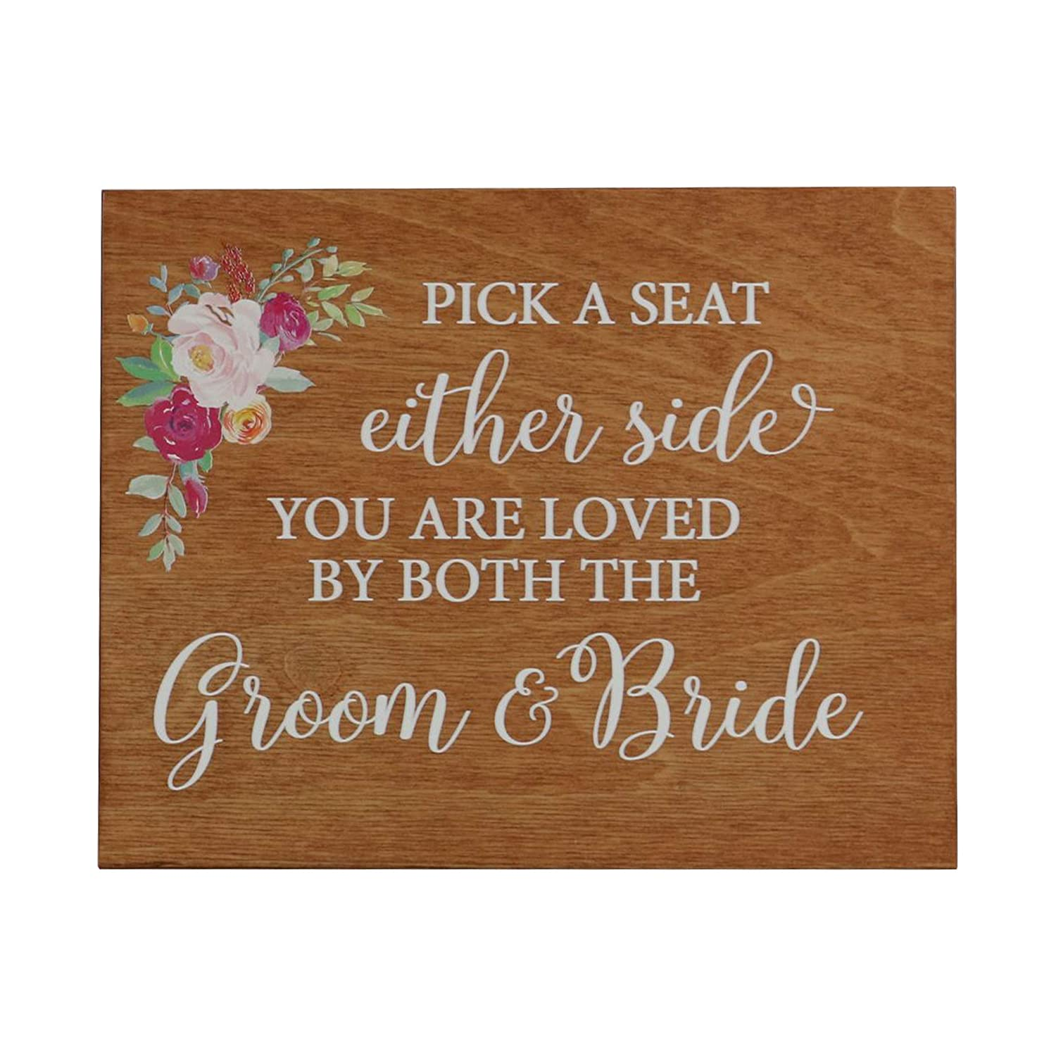 Walnut 8x10 LifeSong Milestones Pick a Seat with Flowers Decorative Wedding Party Signs for Ceremony and Reception for Bride and Groom