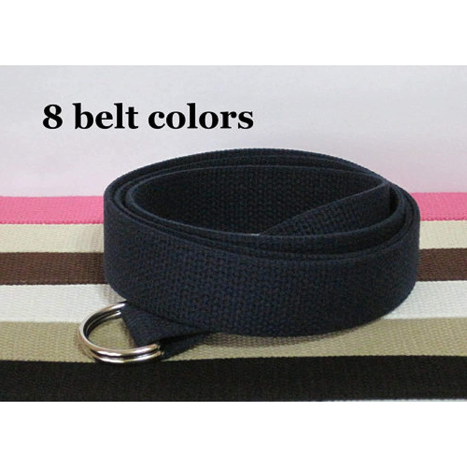 Mens Belt/Canvas Belt/D-Ring Belt/Solid Color Belt in Khaki, Black, White, Navy, Pink, Green - for boys teens men women Big & Tall and Plus Size