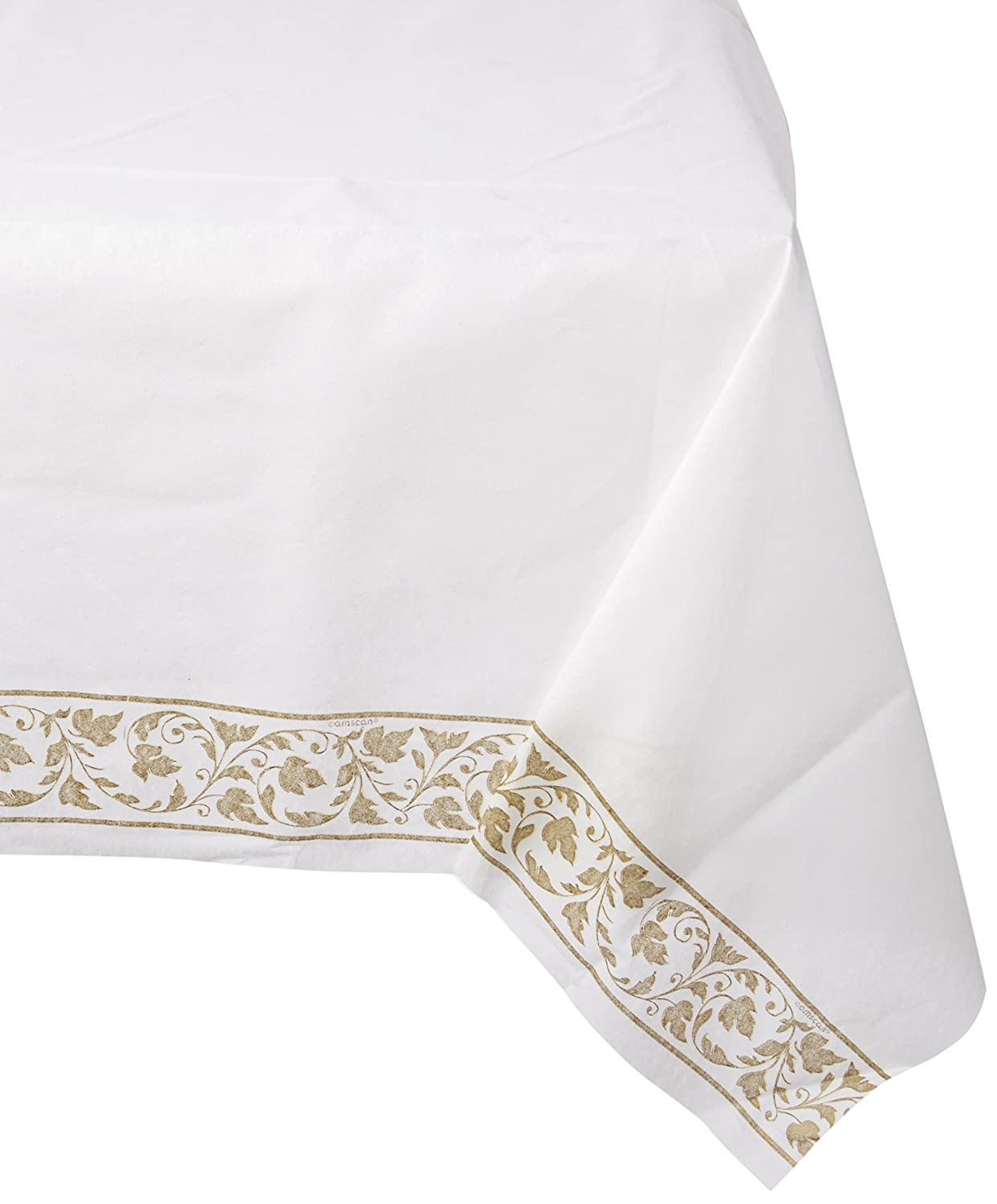 White with Gold Trim 54 x 108 Amscan Premium Quality Table Cover Party Supply |6 ct.