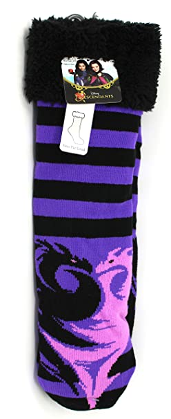 6724d196136 Amazon.com  Disney Descendants Slipper Socks Purple Black Child Size ...