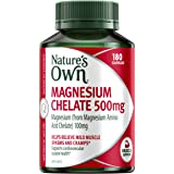 Nature's Own Magnesium Chelate 500mg - Supports Muscle Function when Dietary Intake is Inadequate, 180 Capsules