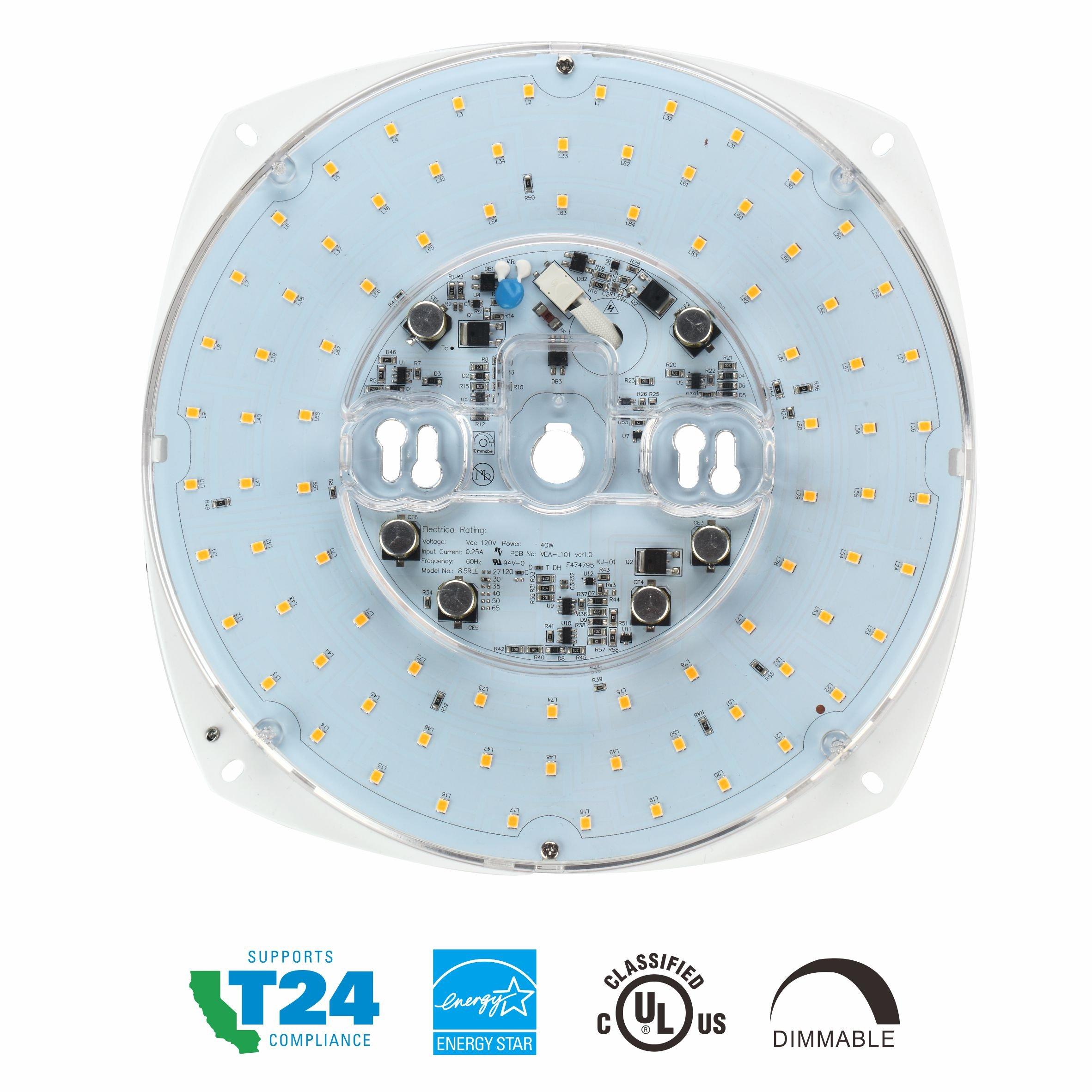 Silverlite 8.5'' LED Retrofit Kit Light Engine for Ceiling Fan Light,Flush Light,Pendant,Lantern and Garden Light,40W,3000K,3300LM,120V,CRI90,Dimmable,10.2'' Corner to Corner,UL Listed