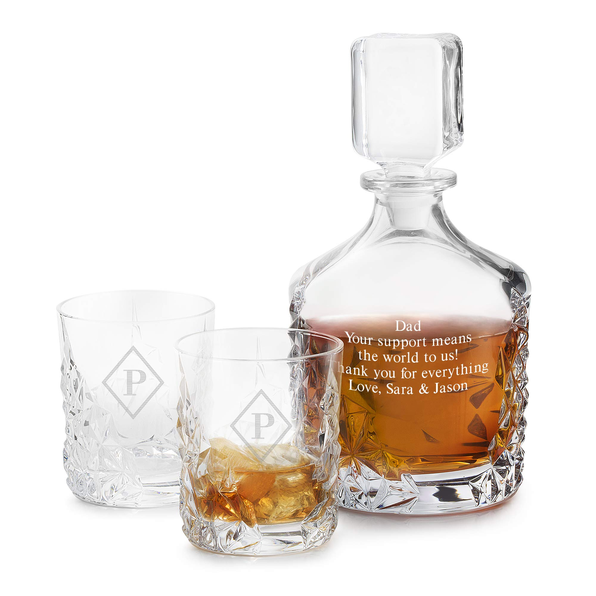 Things Remembered Personalized Sculpture Decanter Set with Engraving Included