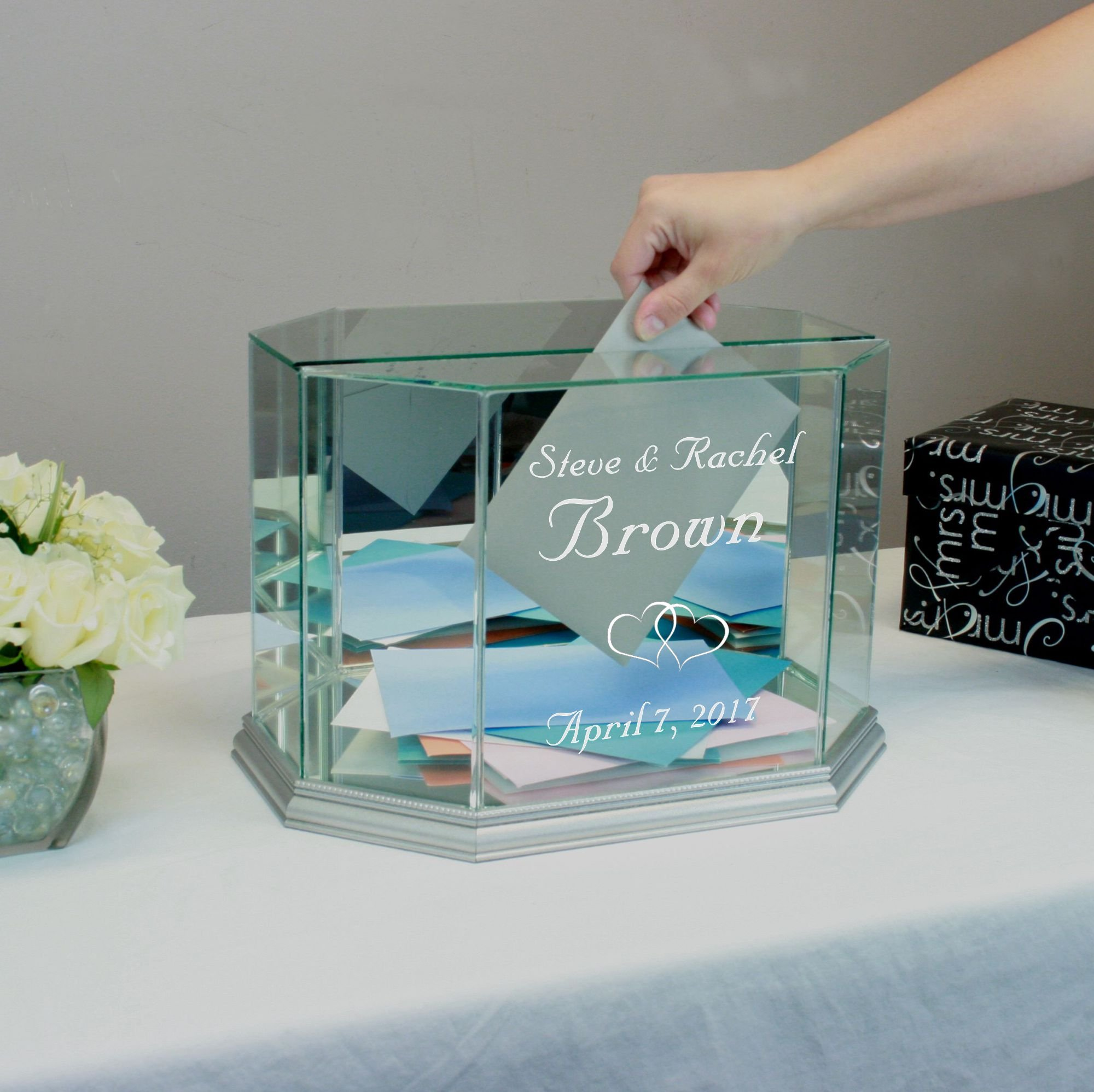 Personalized Glass Octagon Wedding Card Box Silver