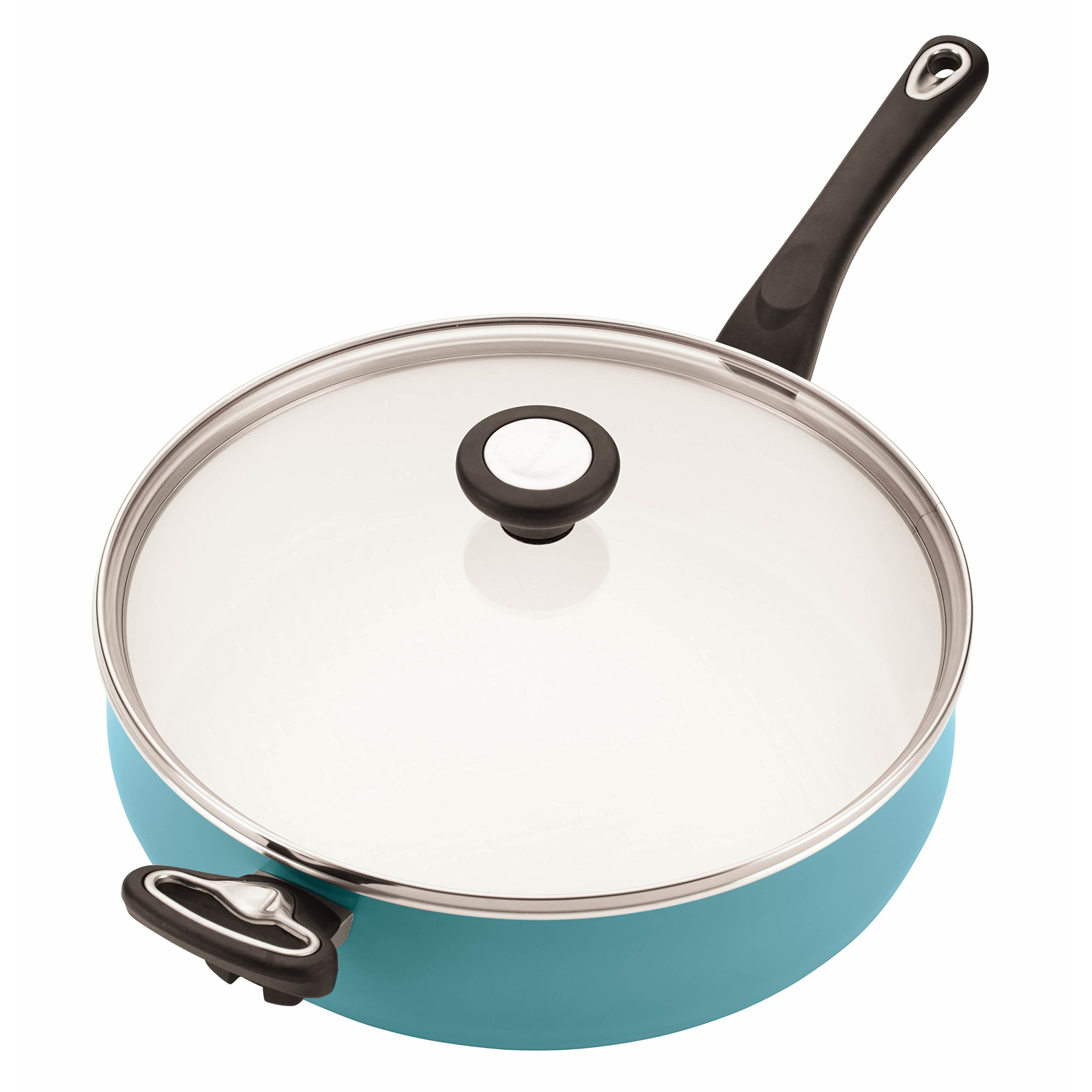 Farberware PURECOOK Ceramic Nonstick Cookware 5-Quart Covered Jumbo Cooker with Helper Handle, Aqua by Farberware (Image #3)