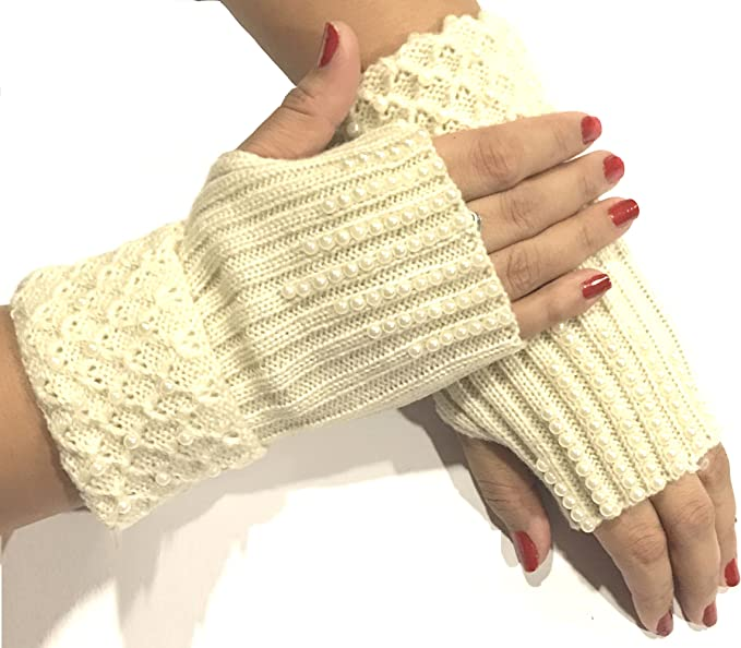 Ladies fingerless gloves one size fits all handmade woolen gloves faux fur