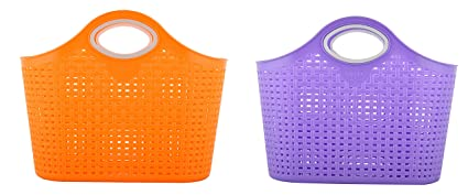 Nakoda Plastic Hand-Powered Storage Basket (EHP008, 7 cm x 11 cm x 7 cm, Blue and Orange, Pack of 2)
