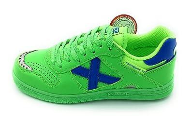 Zapatillas de fútbol Sala MUNICH Continental Kid V2 Verde-Azul (33, Verde)