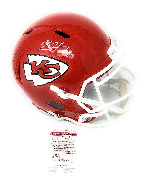 Kareem Hunt Kansas City Chiefs Signed Autograph Full Size Speed Replica Helmet Hunt Player Hologram JSA Witnessed Certified