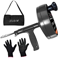 Drain Auger Plumbing Snake | Heavy Duty 25-Ft Drain Snake Cable with Work Gloves and Storage Bag, EHX1-1012