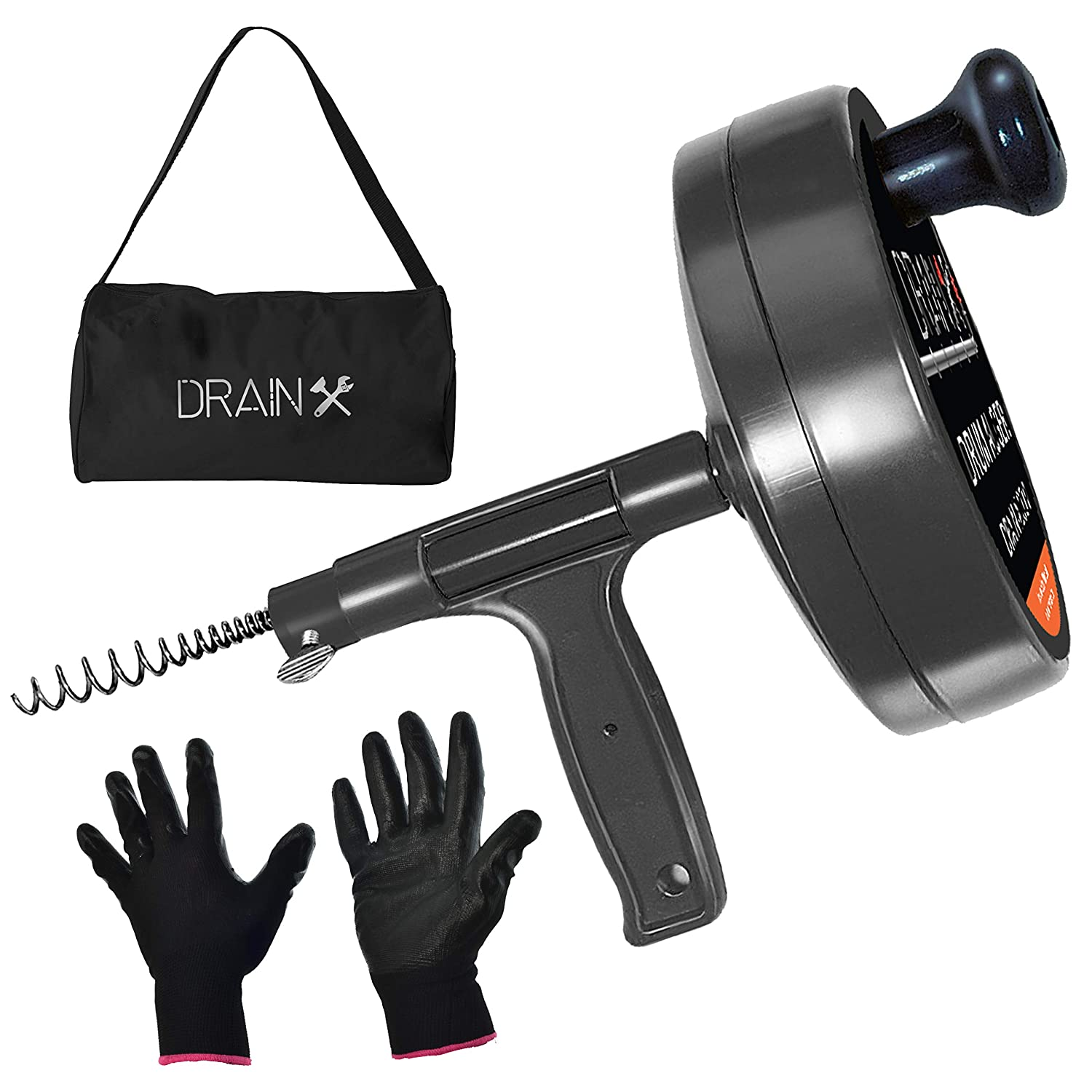 Drainx Pro Steel Drum Auger Plumbing Snake | Heavy Duty 25-Ft Drain Snake Cable with Work Gloves and Storage Bag EHX1-1012