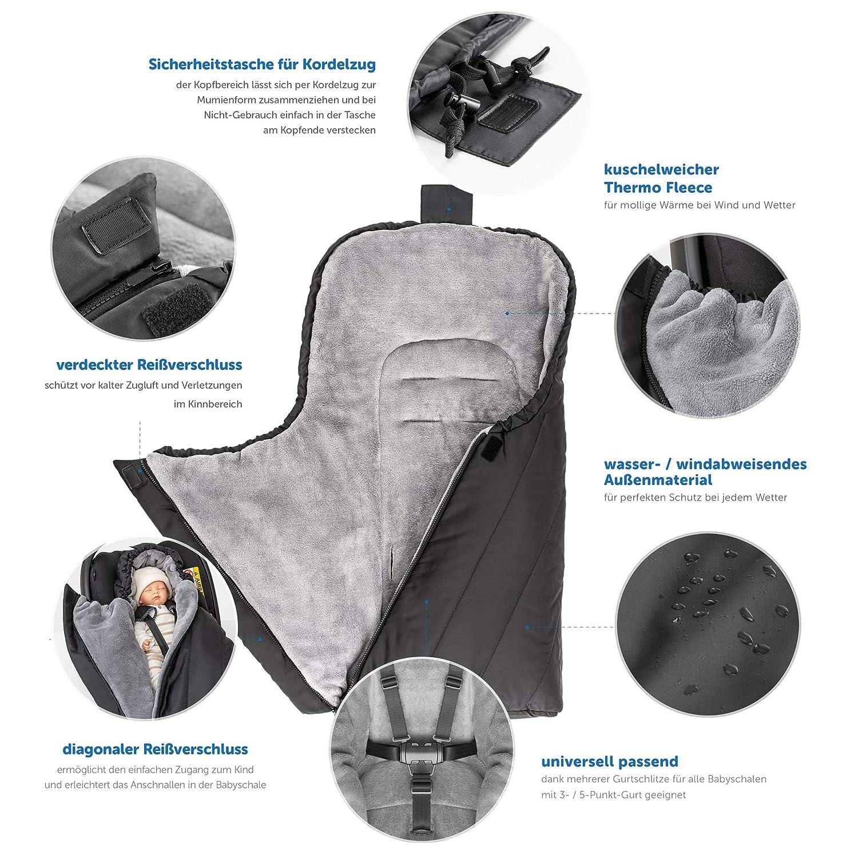 Zamboo - Saco Universal DELUXE para Maxicosi / Portabebés | Saco de invierno con forro polar térmico para Silla de coche bebé, con capucha y bolsa - color ...