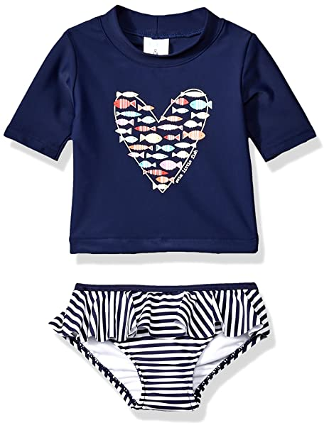 b2542f4725819 KIKO & MAX Little Girls Suit Set with Long Sleeve Rashguard Swim Shirt,  Navy Fish