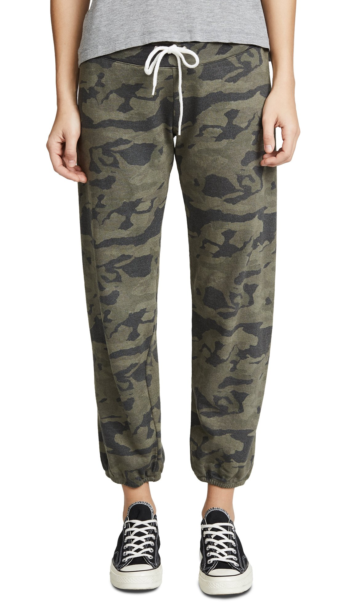 Monrow Women's Camo Print Sweatpants, Hunter, Small